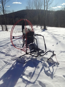The FLY-POD Trike can be mounted on skies to fly in snow in the winter.